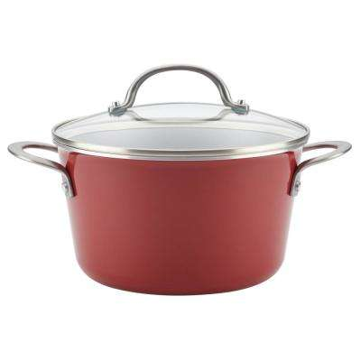 Home Collection 4.5 Qt. Porcelain Enamel Nonstick Covered Saucepot in Sienna Red