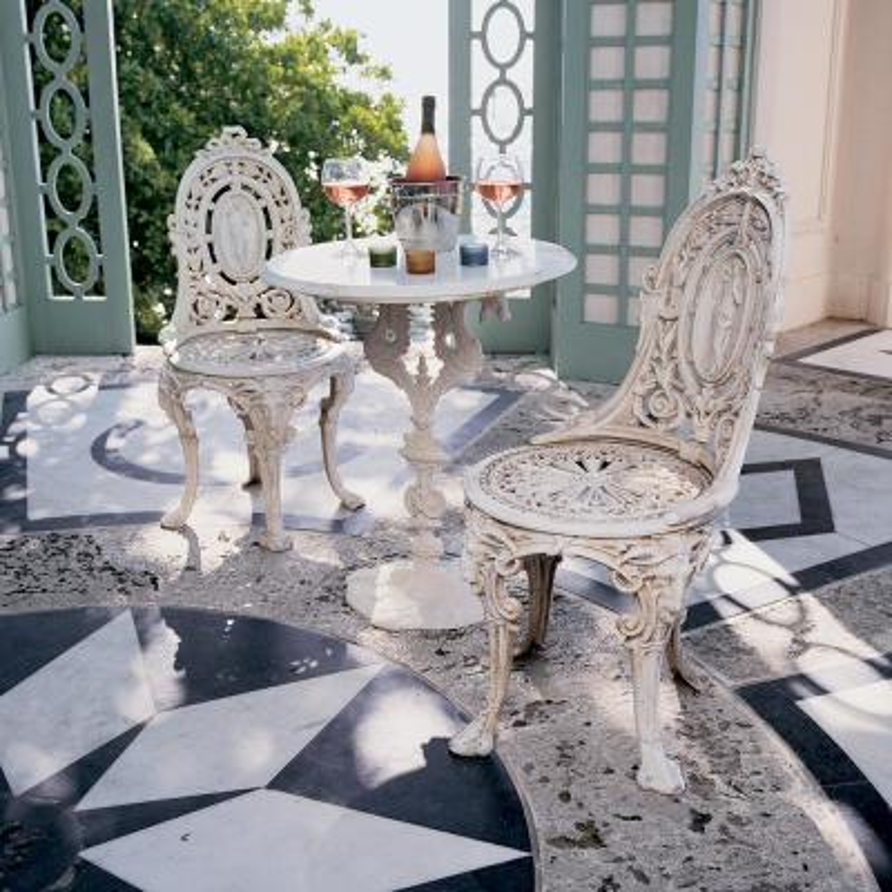 Regents Park White Cast Iron Outdoor Bistro Table