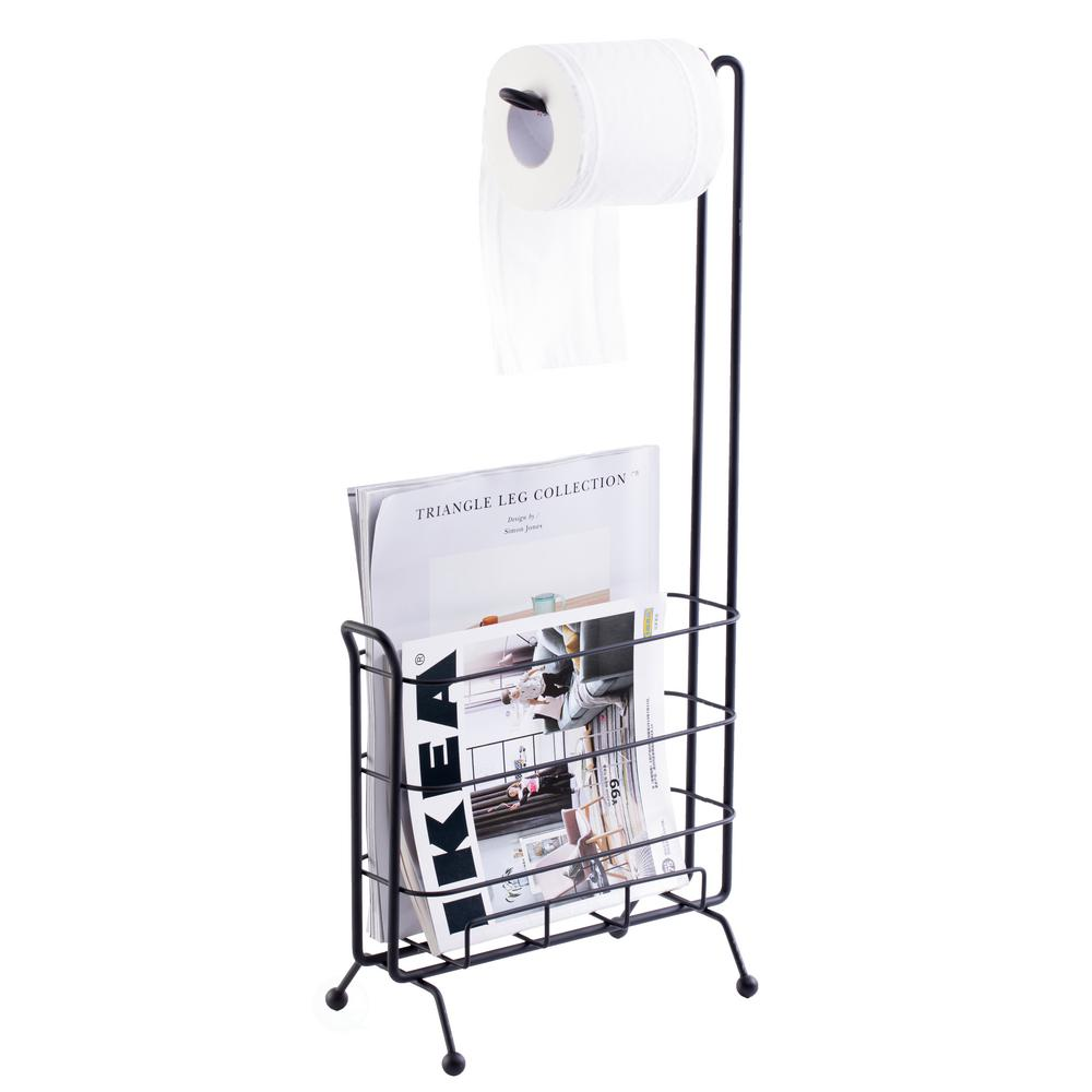 Basicwise Metal Toilet Paper Holder With Magazine Rack In Black