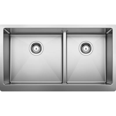QUATRUS R15 Apron-Front Stainless Steel 33 in. 60/40 Double Bowl Farmhouse Kitchen Sink