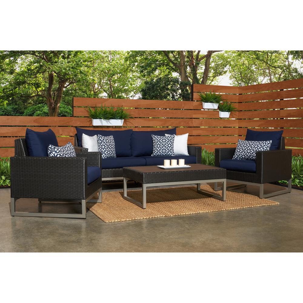 Milo Espresso 4-Piece Wicker Patio Deep Seating Conversation Set with Sunbrella Navy Blue Cushions