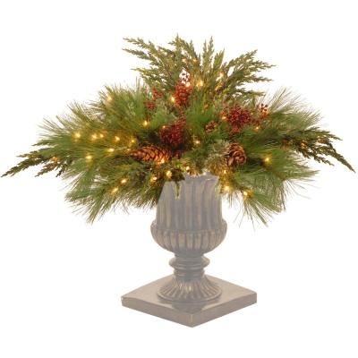 30 in. Decorative Collection White Pine Urn Filler with Clear Lights