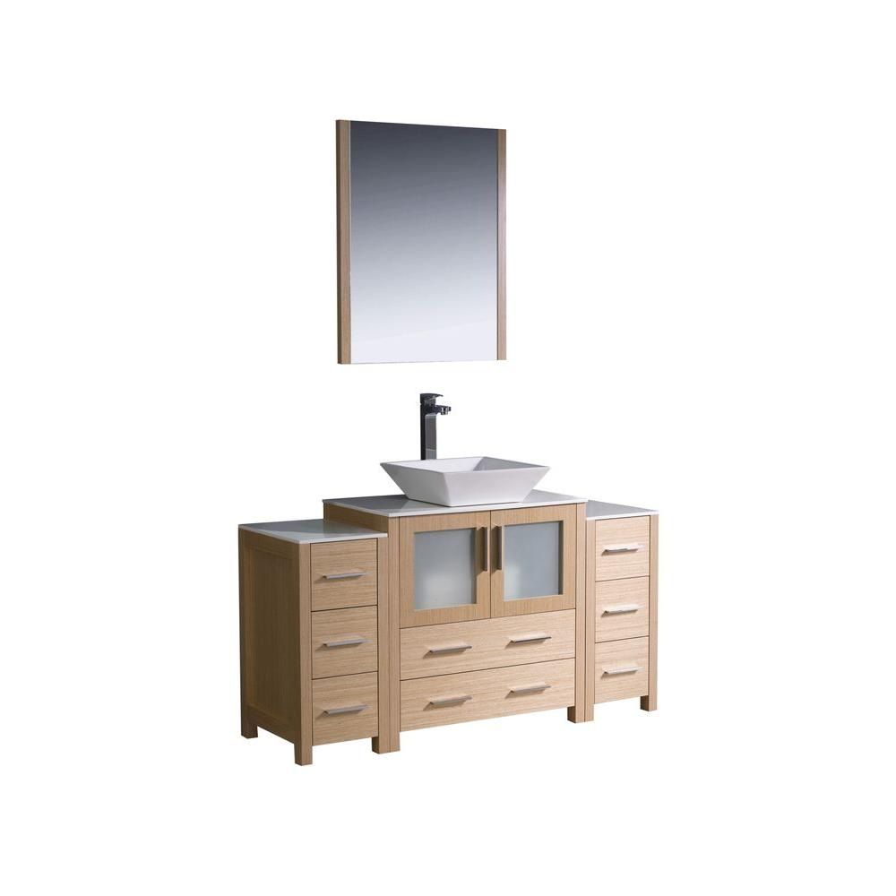 Torino 54 in. Vanity in Light Oak with Glass Stone Vanity