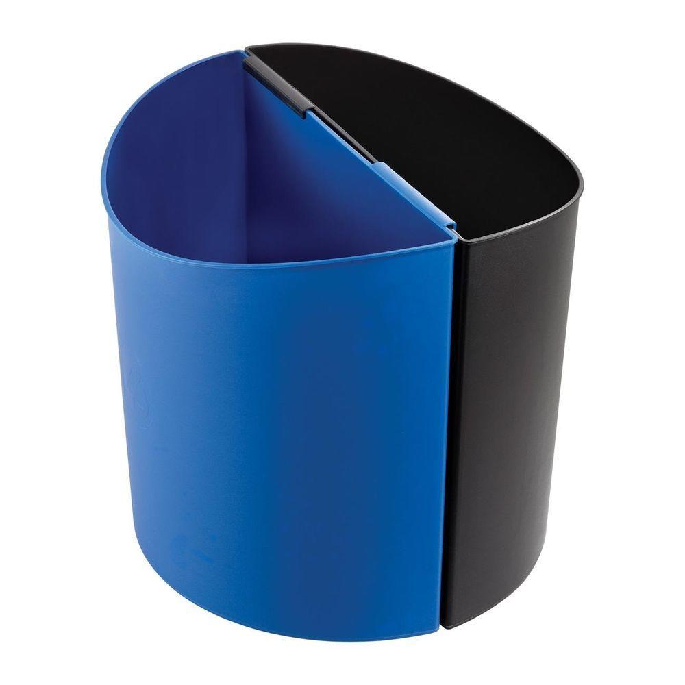 Safco 30 Gal. Oval Open Top Indoor Recycling Bin, Black