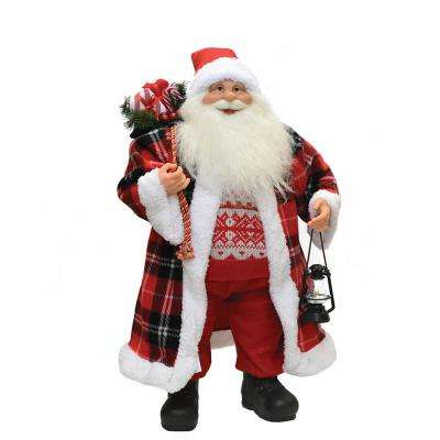 24.5 in. Santa Claus with Red and Black Checked Coat Christmas Tabletop Decoration