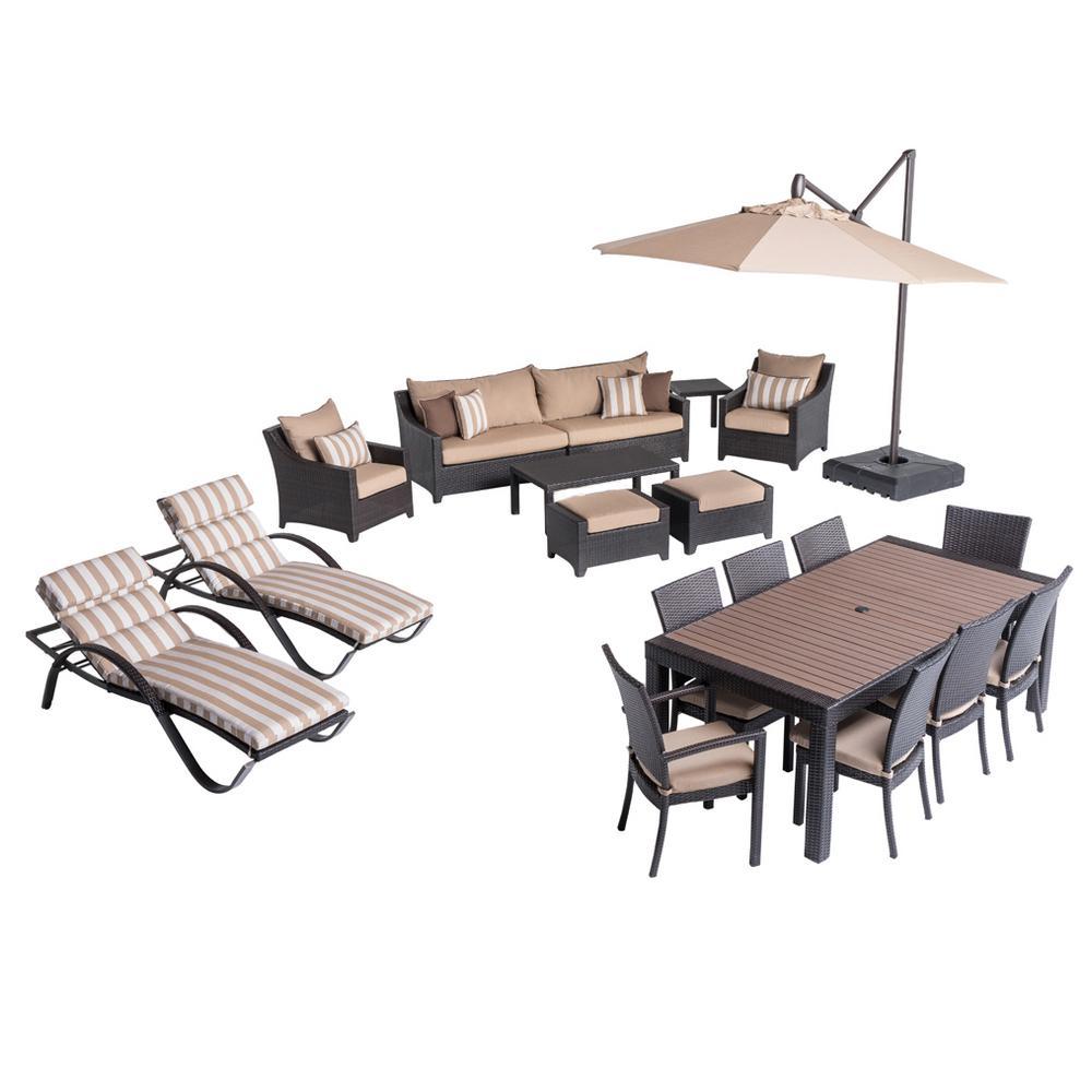 Deco Estate Wicker 20-Piece Patio Conversation Set with Sunbrella Maxim Beige Cushions