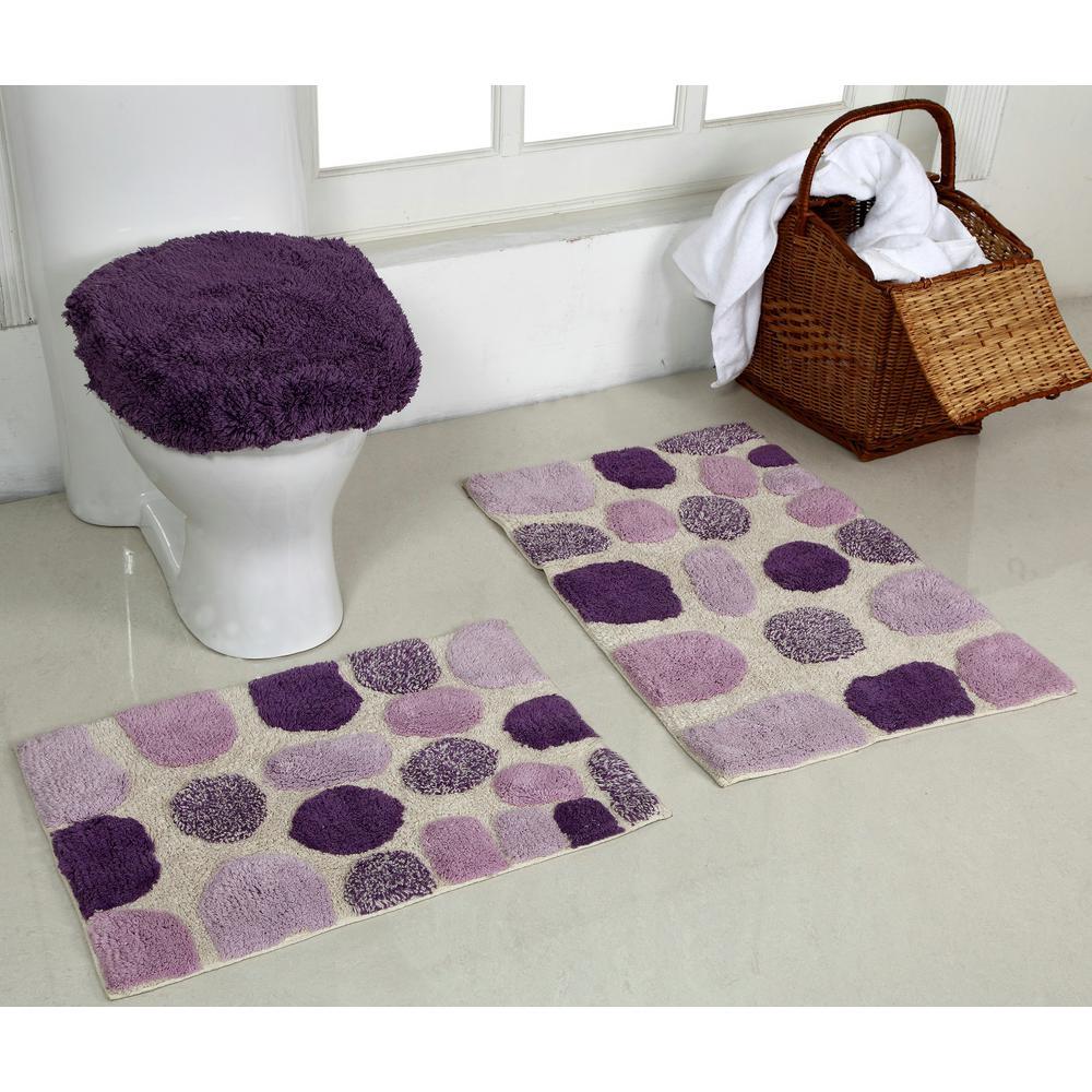 River Rock Purple 20 in. x 30 in. and 17 in. x 24 in. and 18 in. x 19 in. Bath Rug (3-Piece)