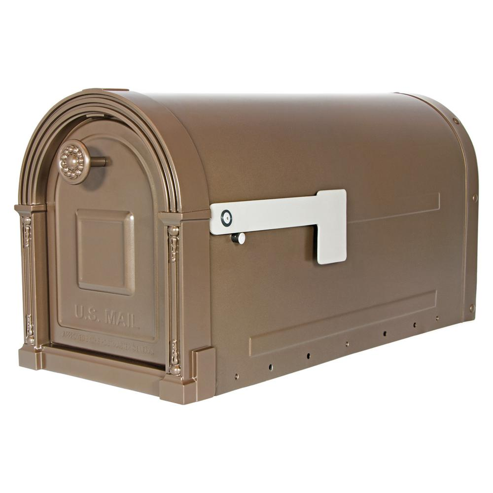 Garrison Steel Post-Mount Large Mailbox in Venetian Bronze