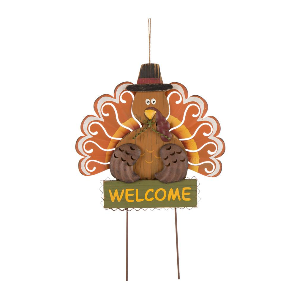 23.82 in. H Iron/Solid Wood Turkey Welcome Yard Stake(KD)