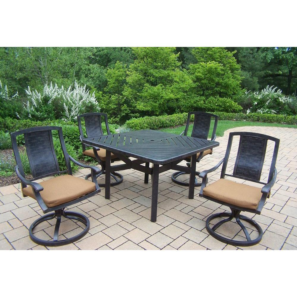 5-Piece Square Aluminum Patio Dining Set with Sunbrella Canvas Teak Cushions