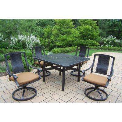 5 Piece Square Aluminum Patio Dining Set With Sunbrella Canvas Teak Cushions