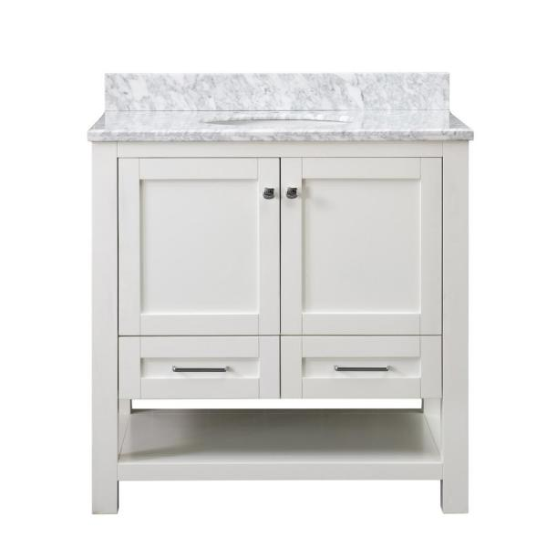 Sunjoy Nixon White 36 In W X 22 05 In D X 35 75 In H Shaker Style Bathroom Vanity With Marble Vanity Top And Single Basin B301008600 The Home Depot