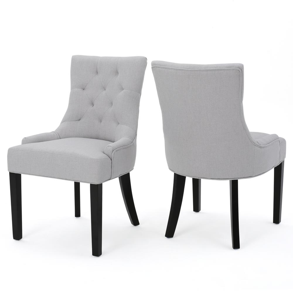 Noble House Hayden Light Grey Fabric Dining Chair Set Of