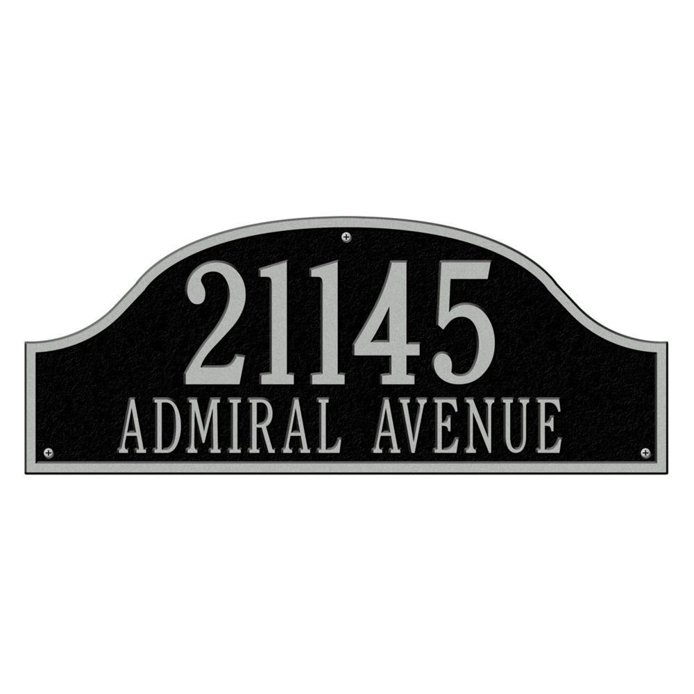 Admiral Estate Arch Black/Silver Wall Two Line Address Plaque