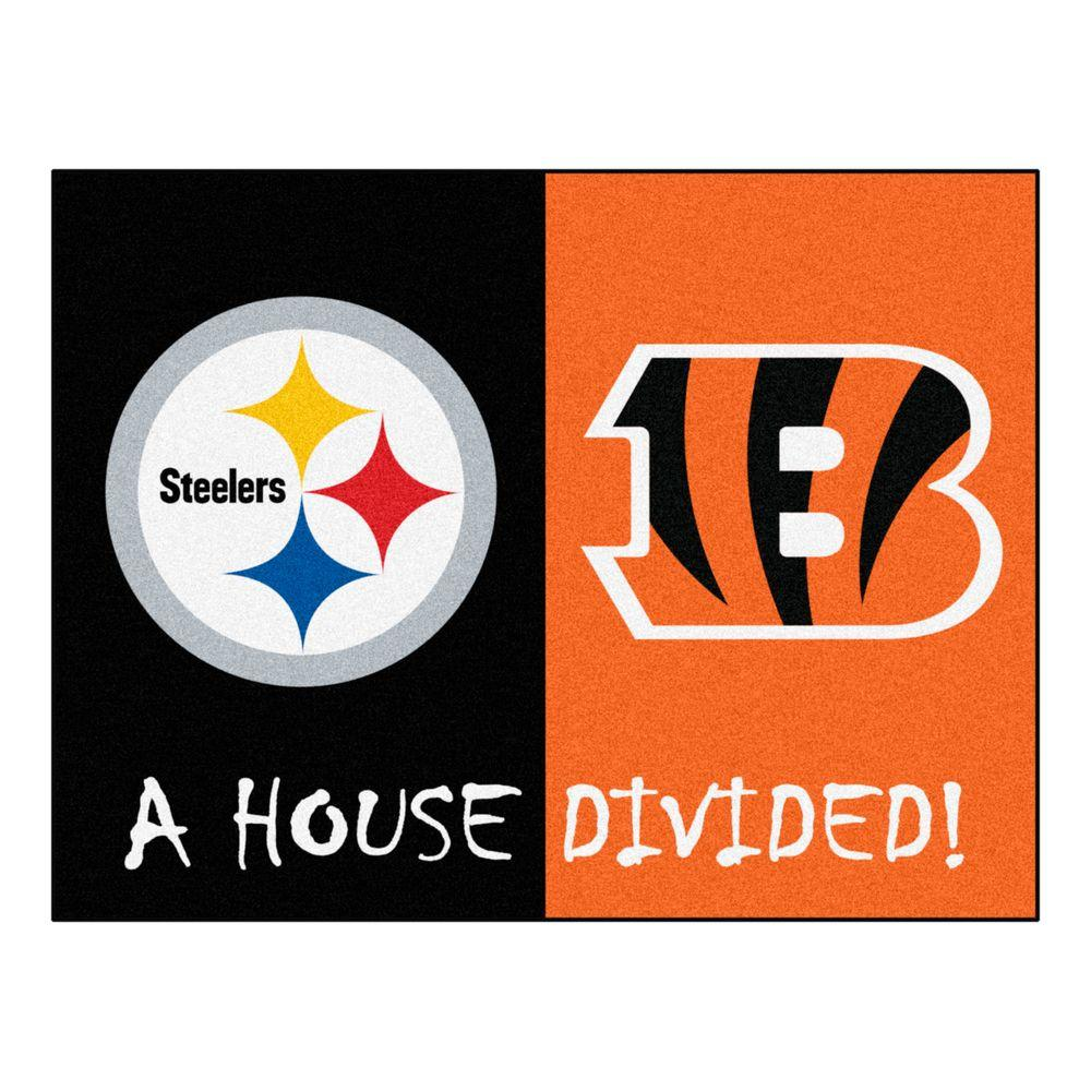 Fanmats Nfl Steelers Bengals Black House Divided 2 Ft