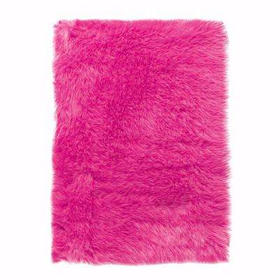 Faux Sheepskin Hot Pink 3 Ft X 5 Area Rug