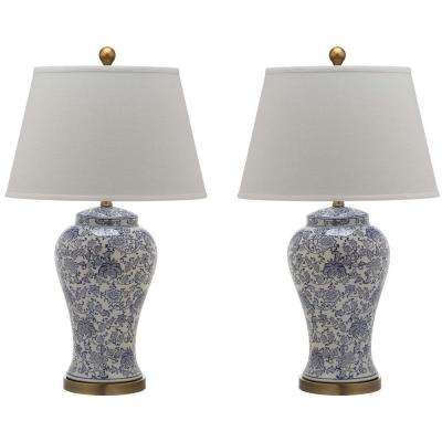 Spring Blossom 29 in. Navy and White Multi Floral Table Lamp (2-Set)