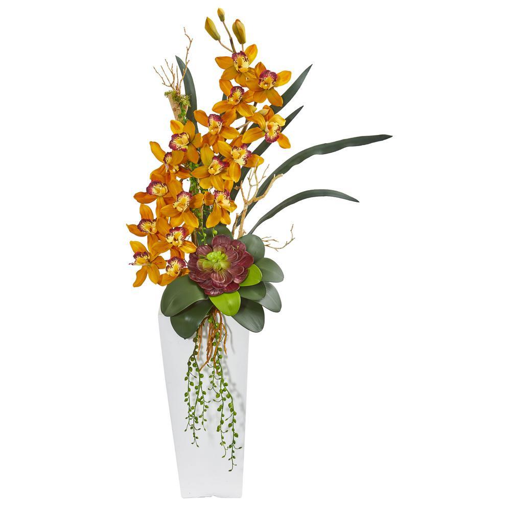 3 ft. Indoor Cymbidium Orchid and Succulent Artificial Arrangement