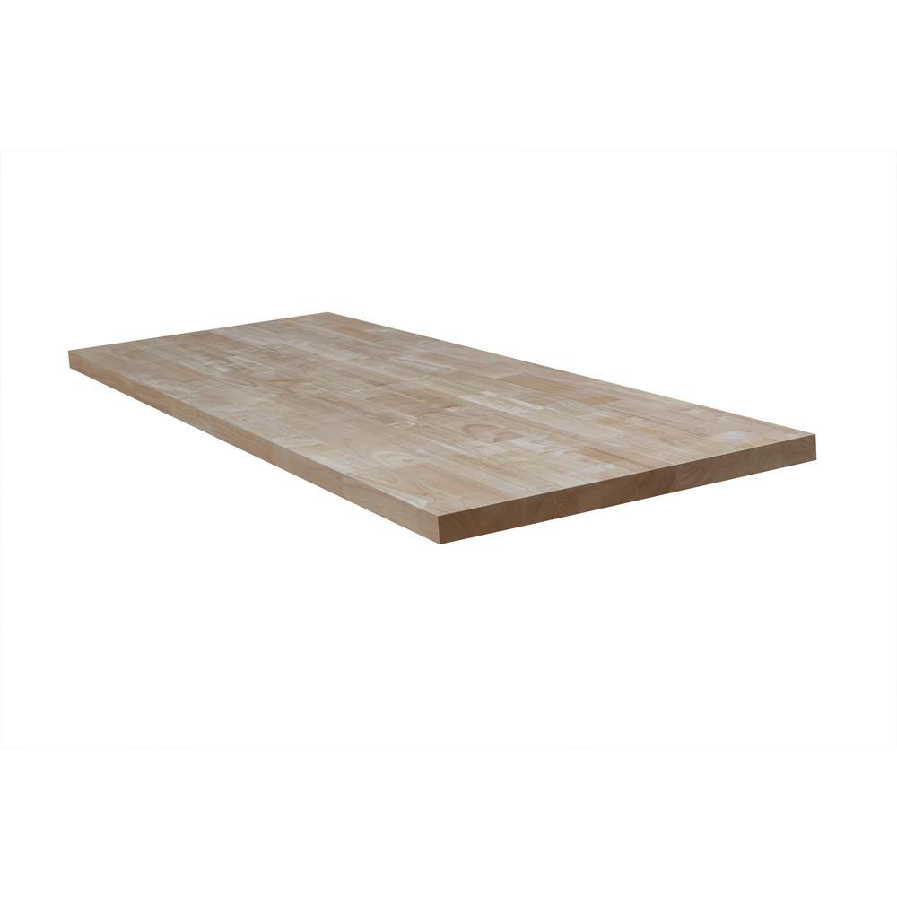 Hardwood Reflections Unfinished Hevea 4 ft. L x 25 in. D x 1.5 in. T Butcher Block Countertop