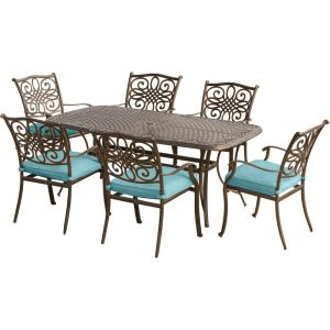 Hanover Traditions 7-Piece Aluminum Outdoor Dining Set with Rectangular Cast-Top Table with Blue Cushions by Hanover