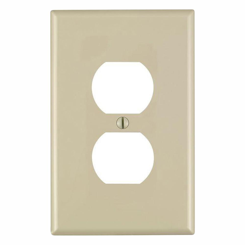 Leviton 1-Gang Midway Duplex Outlet Nylon Wall Plate, Ivory (10-Pack)