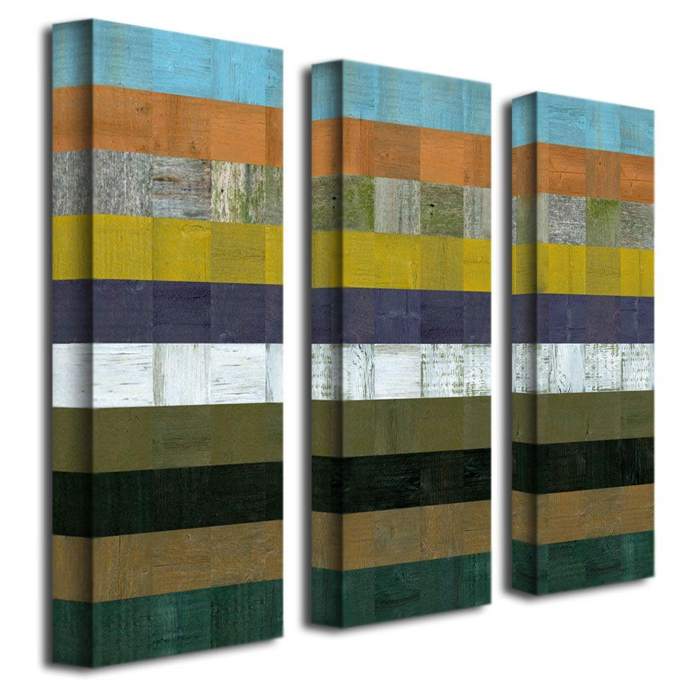 Trademark Fine Art Wooden Abstract I by Michelle Calkins 3-Panel Wall Art Set