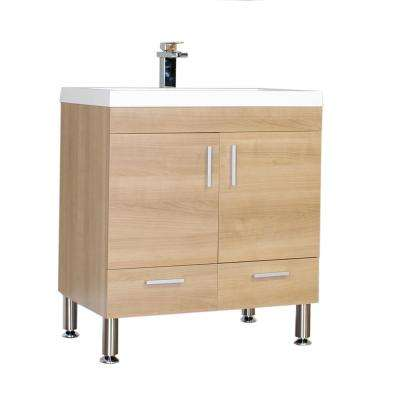 Ripley 29.37 in. W x 18.75 in. D x 33.37 in. H Vanity in Light Oak with Acrylic Vanity Top in White with White Basin