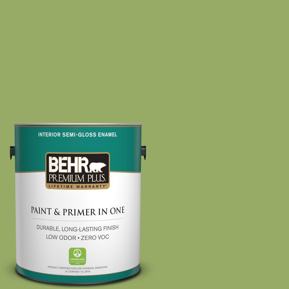 BEHR Premium Plus 1 gal. #420D-5 Herbal Garden Semi-Gloss Enamel Zero VOC Interior Paint and Primer in One