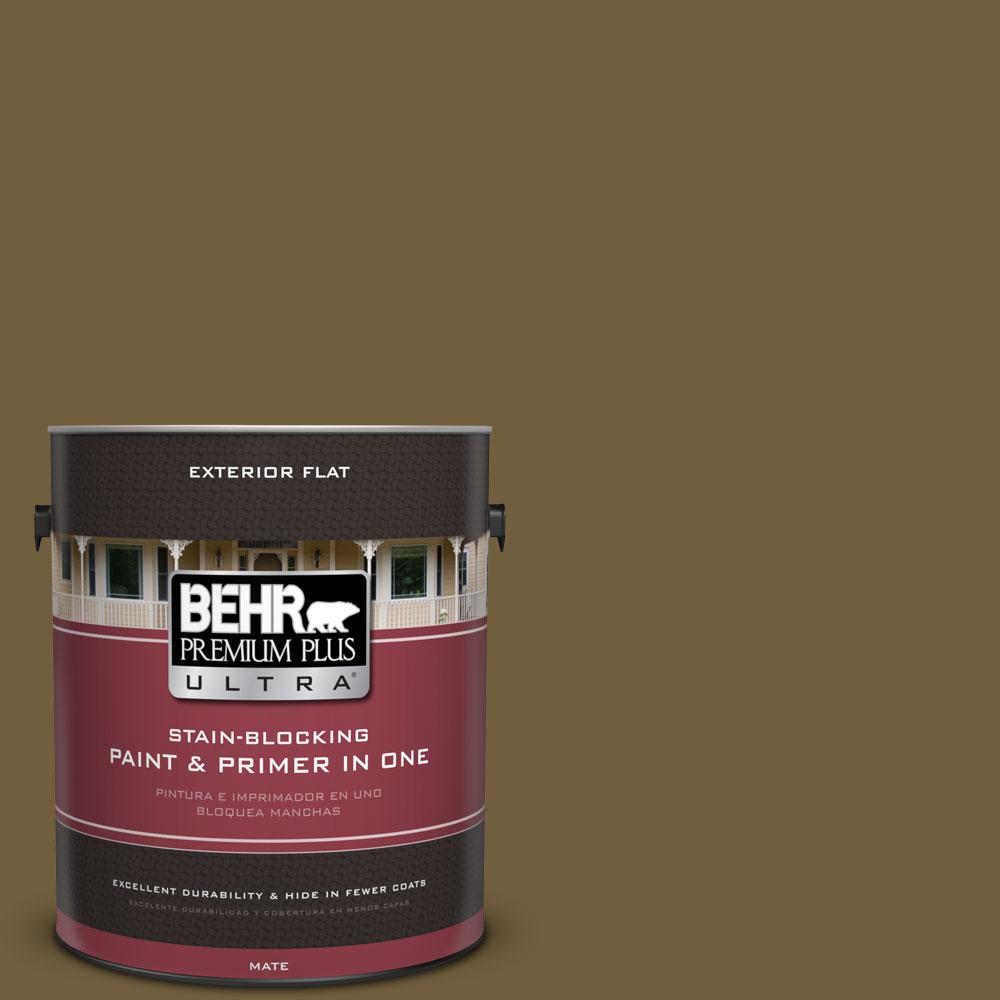 BEHR Premium Plus Ultra 1-gal. #360F-7 Olive Shadow Flat Exterior Paint
