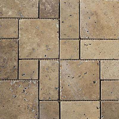 Trav Ancient Tumbled Mocha 11.42 in. x 11.42 in. x 10 mm Travertine Mesh-Mounted Mosaic Tile (1 sq. ft.)