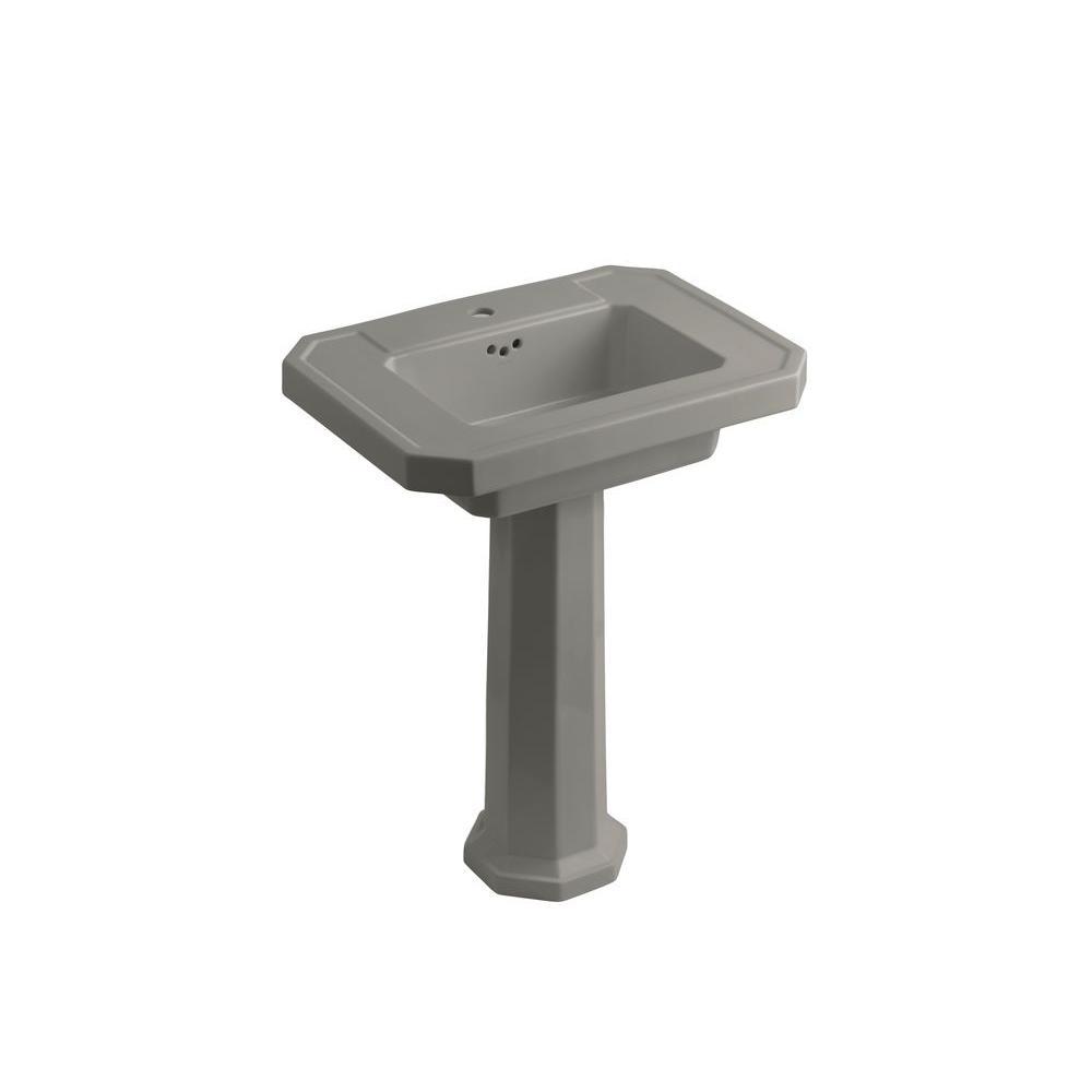 KOHLER Kathryn Ceramic Pedestal Combo Bathroom Sink in Cashmere with Overflow Drain