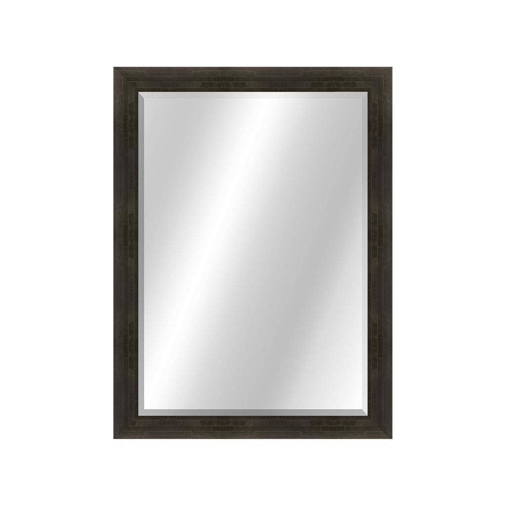 Patterned 22 x 28 Veneer Espresso Framed Vanity Mirror