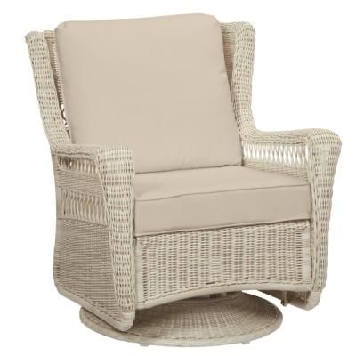 Park Meadows Off-White Wicker Outdoor Patio Swivel Rocking Lounge Chair with CushionGuard Putty Tan Cushions