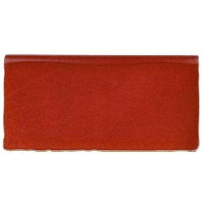 Antic Special Red Moon Bullnose 3 in. x 6 in. Ceramic Wall Trim Tile