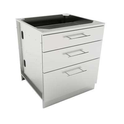 Designer Series 304 Stainless Steel 30 in. x 34.5 in. x 28.25 in. 3-Drawer Base Cabinet