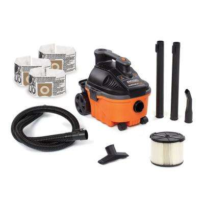 4 Gal. 5.0-Peak HP Portable Wet/Dry Shop Vacuum with Filter, Dust Bags, Hose and Accessories