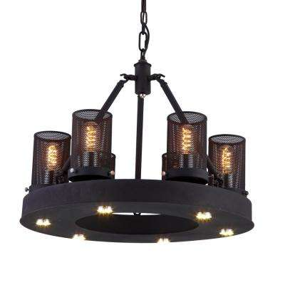 Kenedi 60-Watt Rust Integrated LED Chandelier