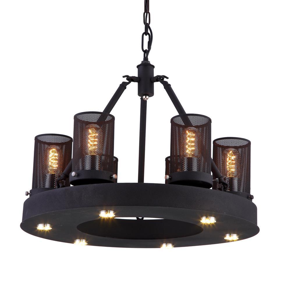 Kenedi 60-Watt Rust Integrated LED Chandelier