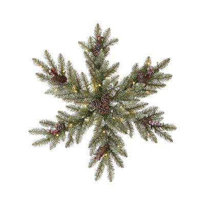 32 in. Pre-Lit Snowy Dunhill Fir Snowflake