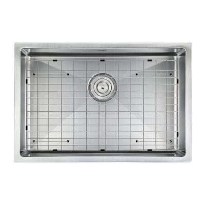 Prestige Series Undermount Stainless Steel 30 in. Single Bowl Kitchen Sink with Grid and Strainer in Satin Finish