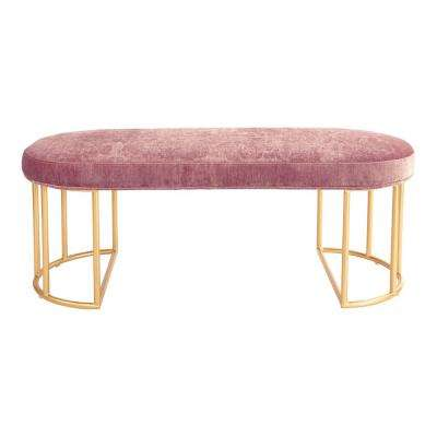 Kinsley Rose Velvet Bench with Gold Frame