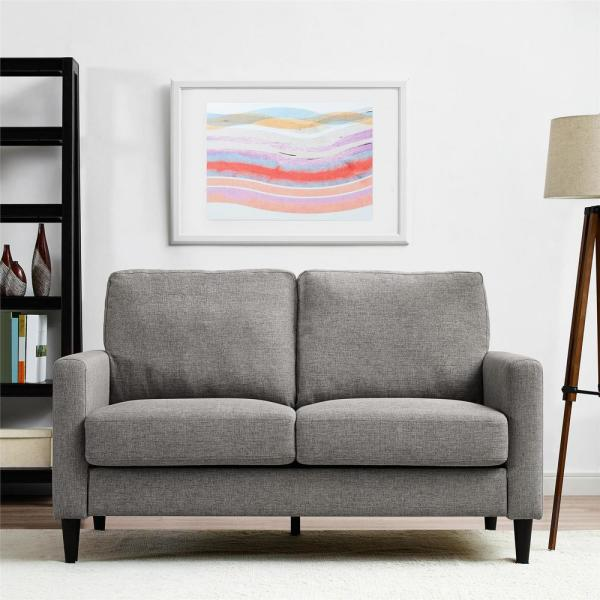 Dorel Living Jenny 57 3 In Gray Linen 2 Seater Loveseat With Square Arms Fa7567 Ls The Home Depot