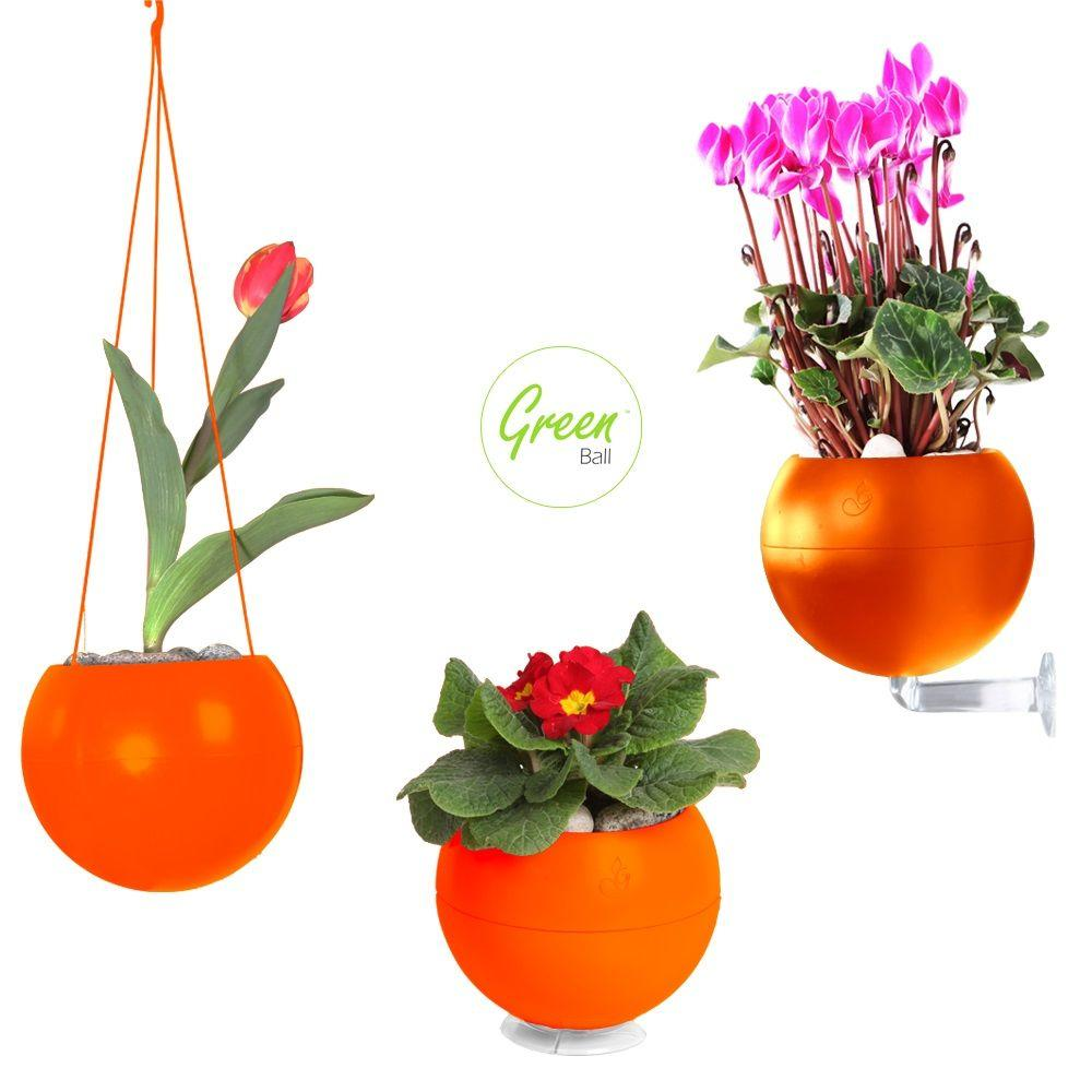 Greenbo 6.7 in. dia. Orange Plastic Greenball 3 in 1 Smart Planter for Wall, Table and Ceiling