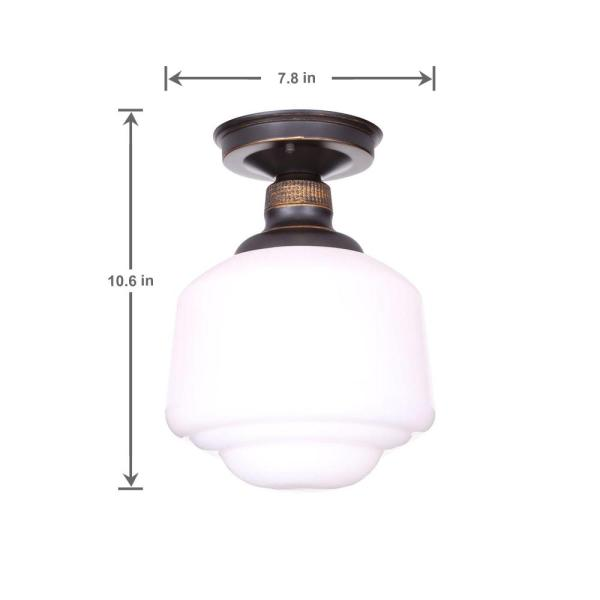 Hampton Bay Esdale 8 In 1 Light Oil Rubbed Bronze Semi Flush Mount With Milk Glass Shade Hjd8011a 4 The Home Depot