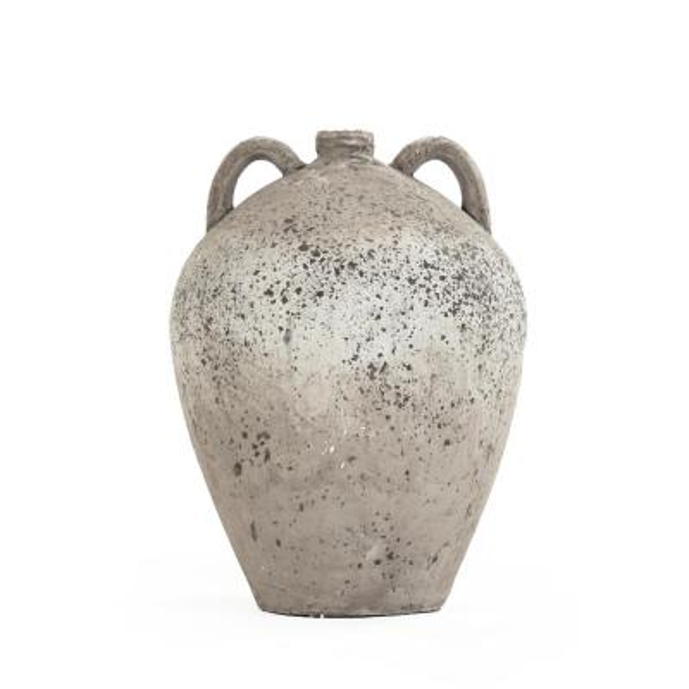 Terracotta Grey 2 Handle Decorative Vase
