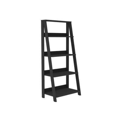 55 in. Wood Ladder Bookshelf - Black