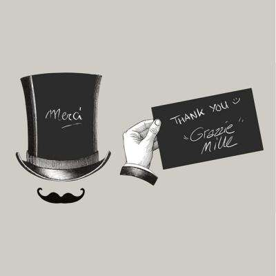 Multi-Color Opera Hat/Chalk Board Wall Decal