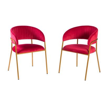 Set of 2 Modern Red Velvet Fabric Upholstered Accent Arm Chair with Gold Metal Legs