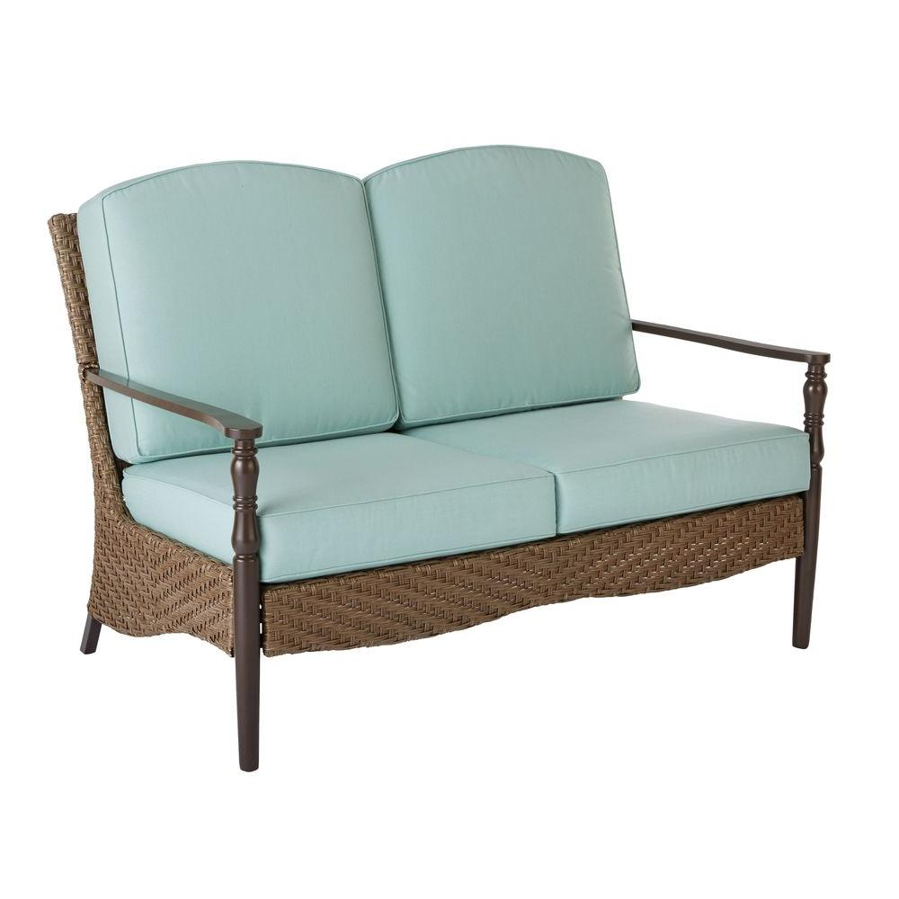 Home decorators collection bolingbrook wicker outdoor patio loveseat with sunbrella spectrum Loveseat cushions outdoor