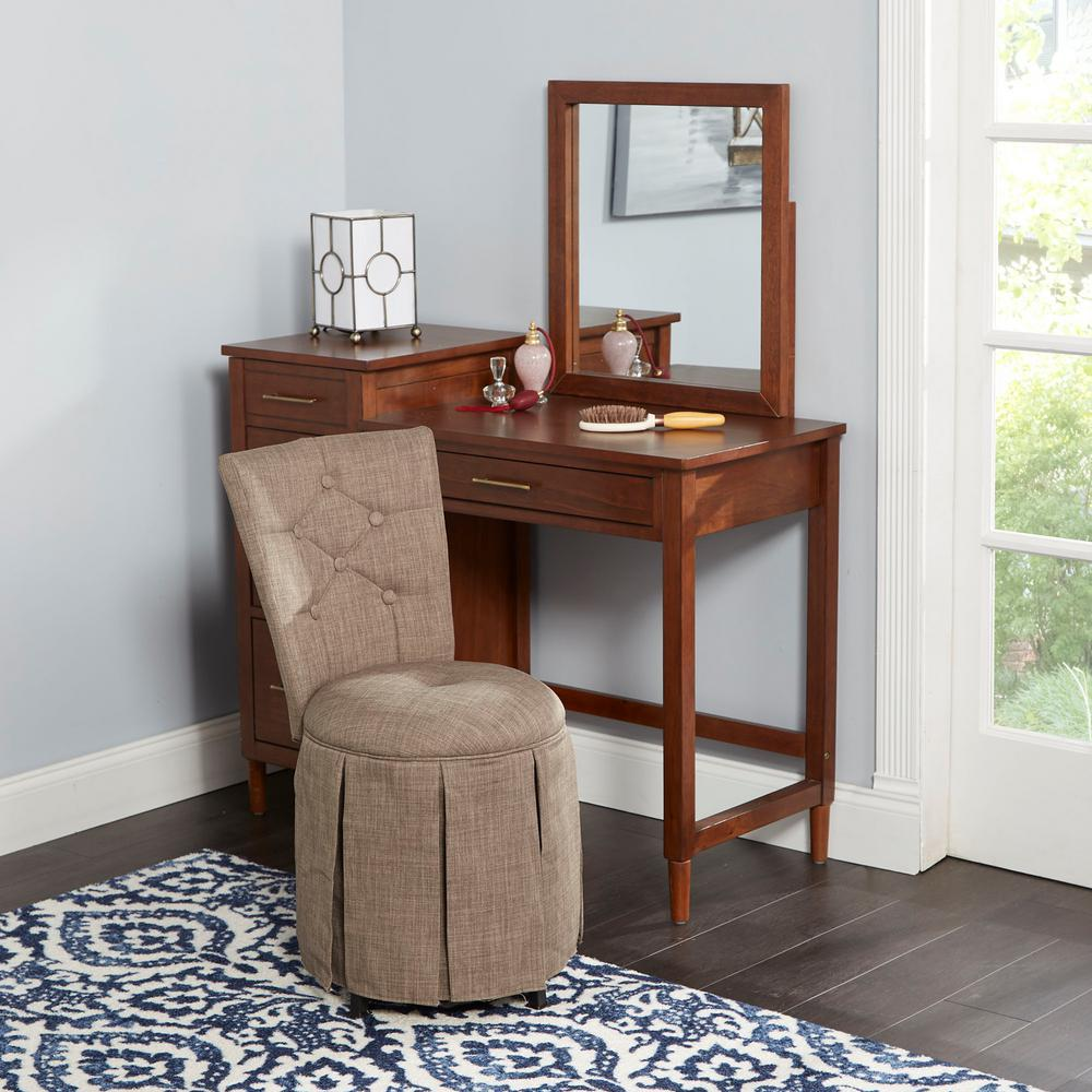 Silverwood Furniture Reimagined Smith Brown Skirted Swivel Vanity